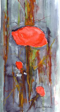 Malerei, Blumen, Rot, Aquarellmalerei