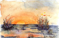 Aquarellmalerei, Sonne, Landschaft, Winter