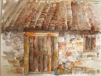 Landschaft, Haus, Stein, Aquarellmalerei