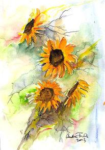 Sonne, Figural, Aquarellmalerei, Fuchs