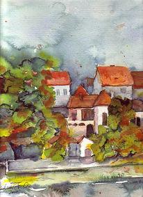 Haus, Dach, Landschaft, Aquarellmalerei