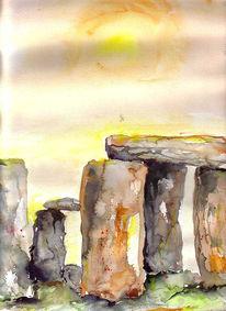 Steinkreis, Aquarellmalerei, Landschaft, Stein
