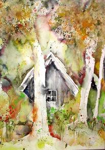 Landschaft, Island, Malerei, Aquarellmalerei