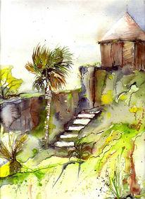 Landschaft, Baum, Malerei, Garten