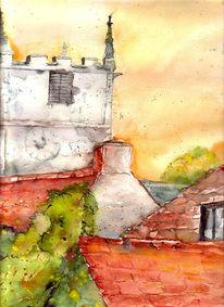 England, Malerei, Corfe, Burg