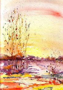 Landschaft, Malerei, Schilf