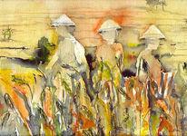 Malerei, Reisfeld, Ernte, Fuchs