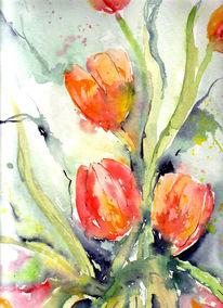 Blumen, Frühling, Malerei, Tulpen