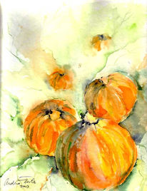 Fuchs, Herbst, Malerei, Pflanzen