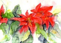 Malerei, Pflanzen, Aquarellmalerei, Blumen