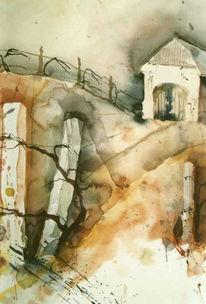 Landschaft, Malerei, Scheune