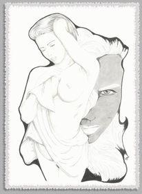 Erotik akt fantasy, Mischen, Akt, Zeichnung