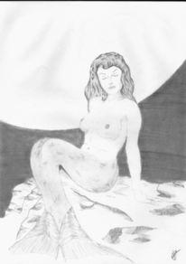 Fantasie, Meerjunfrau, Zeichnung, Zeichnungen
