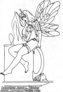 Skizze, Lustig, Fee, Zeichnung