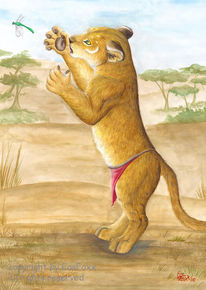 Löwin, Zeichnung, Zeichnungen