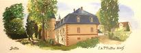 Landschaft, Zeichnung, Schloss, Birstein