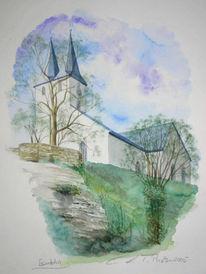 Zeichnung, Kirche, Landschaft, Zeichnungen