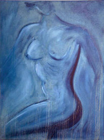 Malerei, Akt, Blau,