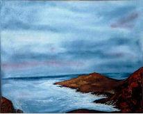 Malerei, Meer, Abendstimmung, Felsen