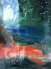 Laub, Wasser, Nebel, Malerei