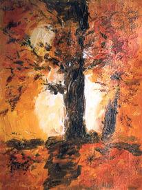 Malerei, Sonne, Baum, Herbstfarben