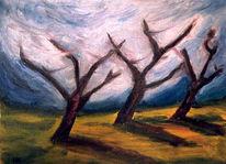 Malerei, Sturm, Baum, Licht