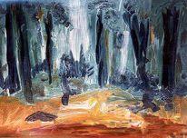 Malerei, Baum, Wald, Lichtung