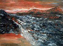 Abendhimmel, Meer, Lava, Malerei