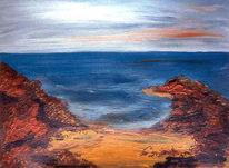 Malerei, Strand, Meer, Felsen
