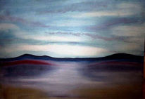 Himmel, Hügel, Land, Malerei