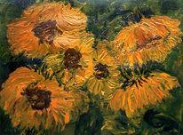 Malerei, Sonnenblumen, Pflanzen