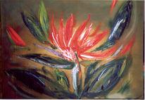 Malerei, Blumen, Grün, Orange