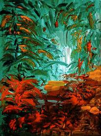 Strauch, Wald, Malerei, Licht