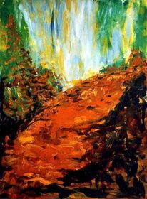 Baum, Wasserfall, Malerei, Waldweg