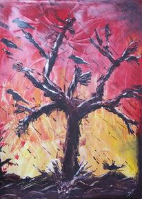 Baum, Krähe, Abstrakt, Rabe