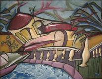 Haus, Mittelmeer, Urlaub, Malerei