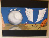 Kugel, Ameise, Vogel, Malerei