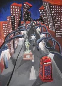 Telefonzelle, Straße, Hochhaus, Freiheitsstatue