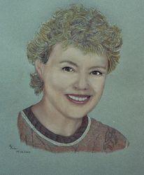 Portrait, Zeichnung, Zeichnungen, Lächeln