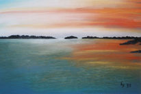 Malerei, Landschaft, Abendrot