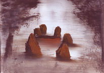 Malerei, Landschaft, Nebel, Stein