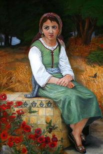 Kind, Korn, Ölmalerei, Persien