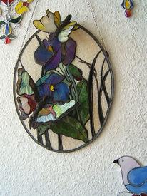 Kunsthandwerk, Bunt, Glas, Kornblumen