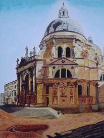 Acrylmalerei, Venedig, Landschaft, Santa