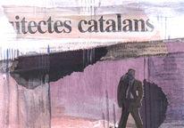 Malerei, Mischtechnik, Postkarten, Barcelona
