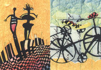 Abstrakt, Grafik, Mischtechnik, Postkarten