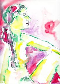 Akt, Akt aquarell portrait, Aquarellmalerei, Figural