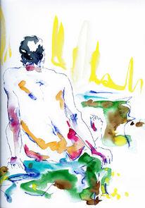 Malerei, Figural, Akt, Aquarellmalerei