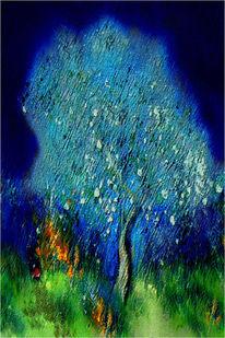 Blau, Baum, Digitale kunst, Grün