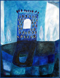 Turm, Malerei, Blau
